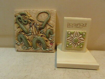 1999 Picturesque Dragon Tile Figurine 3 7/8 X 3 7/8 In. With Base