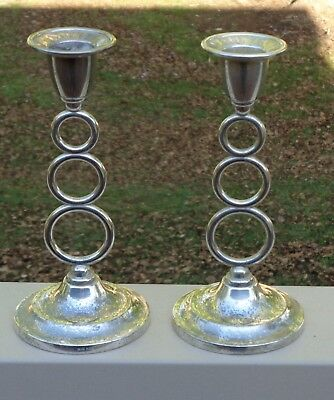 Lovely Vintage Ianthe England Silverplated Taper Candle Holders x 2