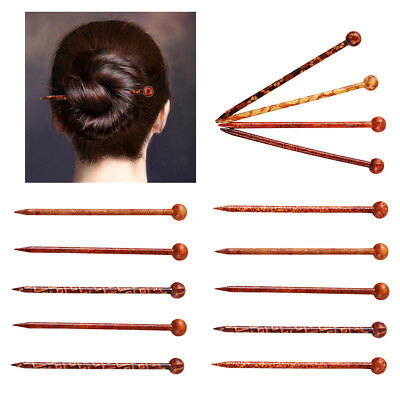 14packs Antique Printed Wooden Hair Pin Stick Women Lady Hair Chopstick 13cm