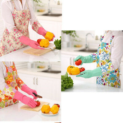 Flower Household Kitchen Rubber Gloves Long Sleeve Washing Up Cleaning Glove