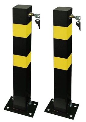 2 Heavy Duty Folding Robust Security Parking Post Driveway Bollard + Lock & Keys