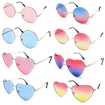 Novelty Glasses Heart Round Lens Tinted Ladies Mens Adults Fancy Dress Circle UK