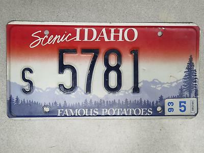 Embossed Single Idaho License Plate s 5781 - May. 1993 Sticker - Shoshone County