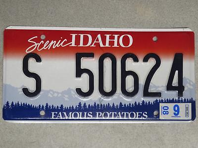Embossed Single Idaho License Plate S 50624, Aug. 2008 Sticker - Shoshone County
