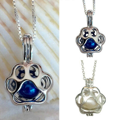 Exquisite Paw Print Dog Cat Silver Pearl Cage Pendant Necklace Hollow Jewelry US