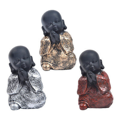 Resin Happy Buddha Figure Ornament Chinese Laughing Sitting Hand Carved-S