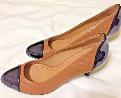 Brooks Brothers Camel Brown Quilted Patent Black Leather Pumps Heels Shoes 9 NEW