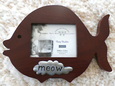 """""""FUZZY BUDDIES SERIES""""  MEOW Photo Frame  (Weston Gallery in Rosewood + Pewter)"""