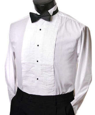 Formal Tuxedo Shirt with black Bow tie Wing collar studs and buttons all sizes