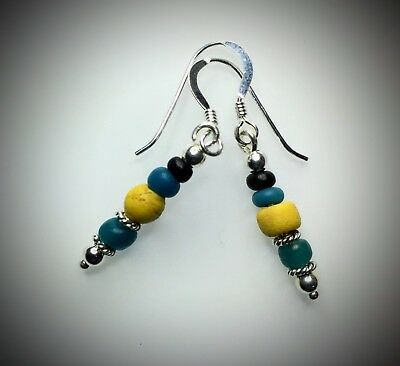Ancient Roman Blue & Yellow Glass Bead Earrings Modern Sterling Silver Wires