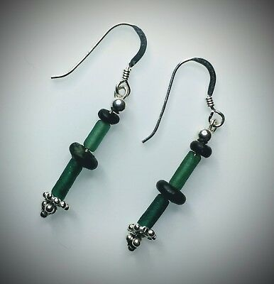 Ancient Roman Emerald Green Glass Beads Restrung On New/Modern Earrings