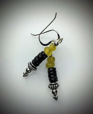 Ancient Roman Yellow/Black Glass Bead Earrings Modern Sterling Silver Wires/Bead