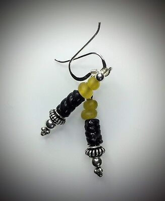 Ancient Roman Yellow & Black Glass Bead Earrings Modern Sterling Silver Wires