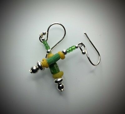 Ancient Roman Yellow & Green Glass Bead Earrings Modern Sterling Silver Wires
