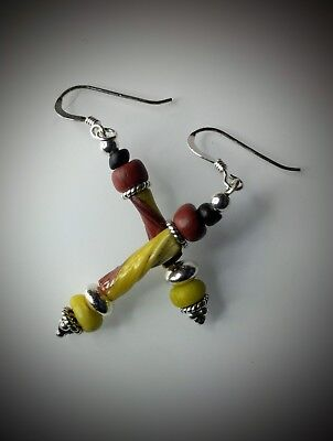 Ancient Roman Yellow & Terracotta Glass Bead Earrings New Sterling Silver Wires