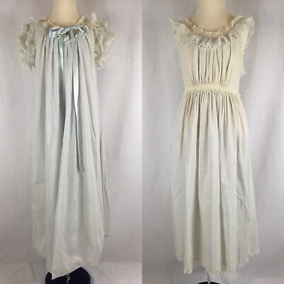 Vintage 1950s Lady Leonora Spring Green Negligee Nightgown Set Lace Trim Sz M 10