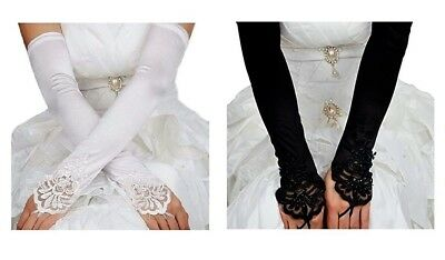"12"" Fingerless Satin Gloves Long Sleeve Lace Prom Formal Party Bridal"