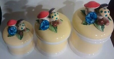3pc Antique Vintage Mushroom Canister Set. Made In Japan. Amazing kitchen pieces