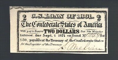 $2 Dollars CSA from 1861 $50 Confederate Bond Currency Coupon Money Note Bill