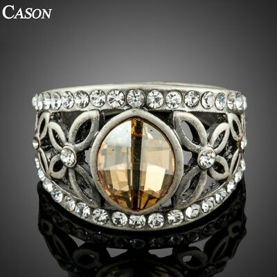 Fashion Jewelry Ancient Silver Ring For Women Austrian Crystal Finger Ring