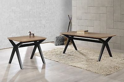 Nightingale Solid Wooden Rectangle Coffee Table Washed Oak Industrial Style