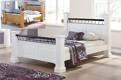 Coliseum Solid Wooden 4 Poster Bed Frame Classic Style Various Colours Sizes