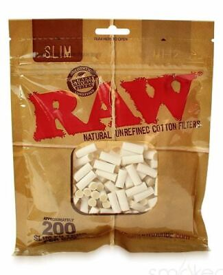 RAW Natural Unrefined Cotton Filters 200 Slim Filter Tips Bag Cigarette Roll
