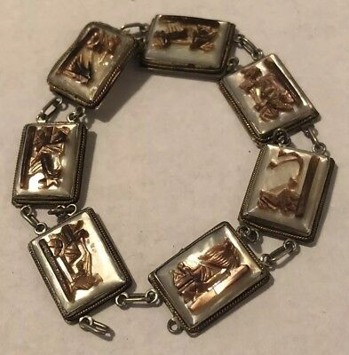 Fine Sterling Silver Carved Mother Of Pearl Mythological Bracelet Antique Rare