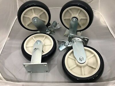"8"" x 2"" Casters Polyurethane Wheel  1400lb ea (4) 2 with brake 2 Rigid Tool Box"