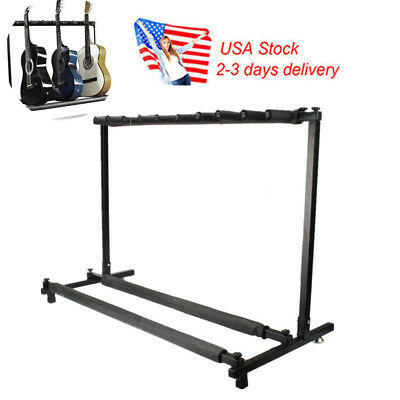 US Stand 3/7/9 Holder Guitar Folding Rack Stage Bass Acoustic Guitar Organizer