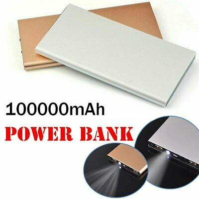 Portable 100000mAh Dual USB External Ultra Power Bank LED Charger For Mobile