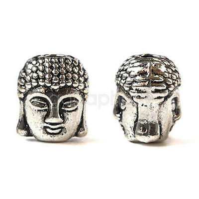 10 Pcs 3D Buddha Head Bracelet Connector Charms Spacer Beads Jewelry Making MJG