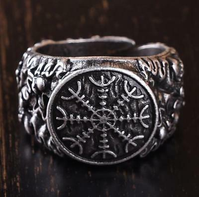 925 Silver Viking Dragon Antique Celtic Rune Adjustable Gift Man Ring Jewelry