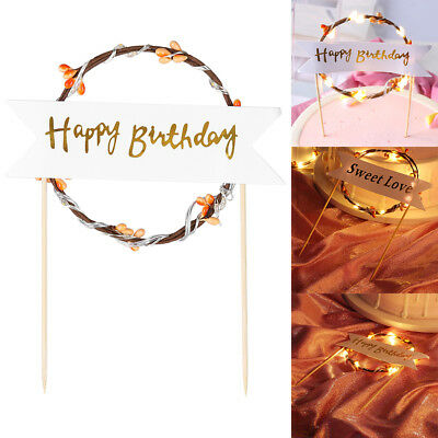 Flashing LED Flower Garland Multi-color Happy Birthday Banner Cake Toppers Decor