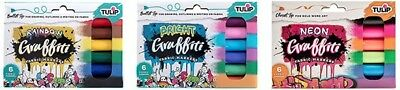 Tulip 'GRAFFITI FABRIC MARKERS' (Choose from 3 Sets) 6pk Clothing/Craft