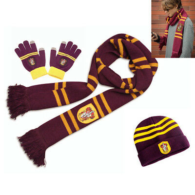 Harry Potter Gryffindor Knit Soft Scarf + Cap Beanie Hat + Gloves 3Pcs Set Gift