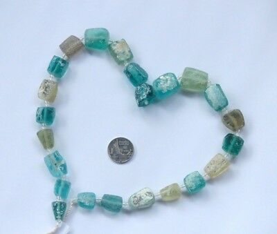 الزجاج الروماني  18 Ancient Roman Glass Old Square Beads Strand Necklace Random