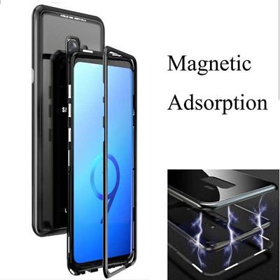 Magnetic Adsorption Metal Frame Tempered Glass Case Cover For Samsung S7 S8 A50
