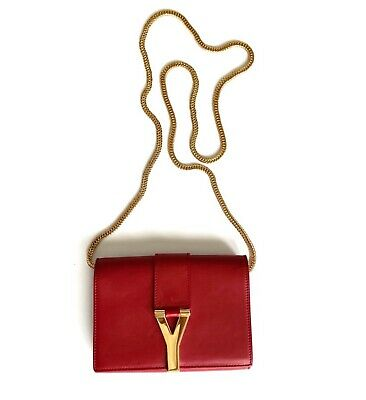 52eb8b8469 Authentic Yves Saint Laurent Mini Y Ligne Pochette Red Leather Crossbody Bag