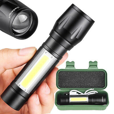 15000 Lumens T6+COB LED Tactical USB Rechargeable Zoomable Flashlight Torch Lamp