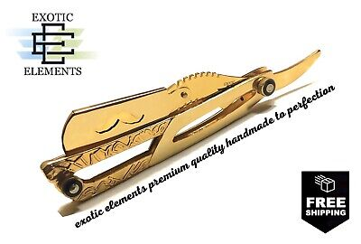 Gold Stainless Steel Barber Straight Edge Razor Shaving Blade Folding Knife New