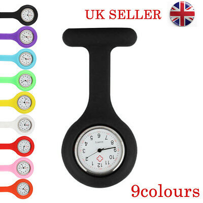UK Fashion Silicone Medical Nurses Brooch Tunic Fob Watch New With Free Battery