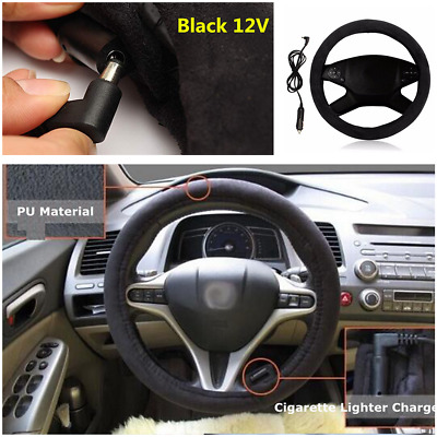 """Universal 12V Car Heated Electric Steering Wheel Cover Winter Warmer 15""""/38cm"""