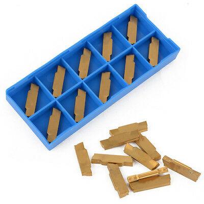 10pcs MGMN300-M Golden Carbide Inserts Blades Lathe Turning Cutter Grooving Tool