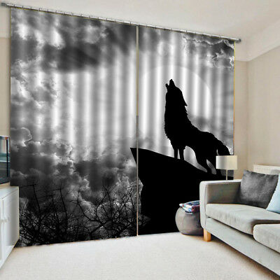 2pcs Teen Animal Blackout Curtain Drapes Total Size: 170x200cm~Wolf Howl