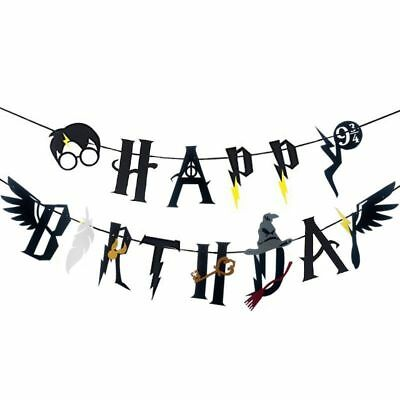 Harry Potter Feather Wing Happy Birthday Banner Bunting Garland Party Decoration