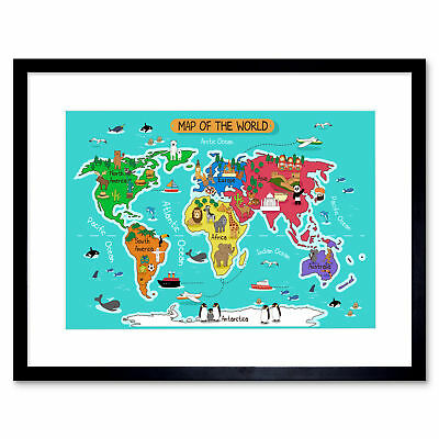 World Map With Landmarks And Animals Art Print Framed Poster Wall Decor