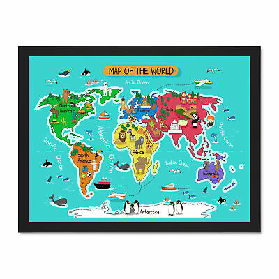 World Map With Landmarks And Animals Large Framed Art Print Wall Poster