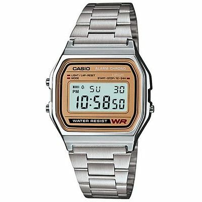 Casio Retro Old School Throwback Style 1980's Stainless Digital Quartz Watch NEW
