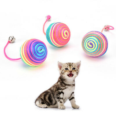 cat kitten dog pet colorful bell nylon ball playing toys gifts chew squeaky SH